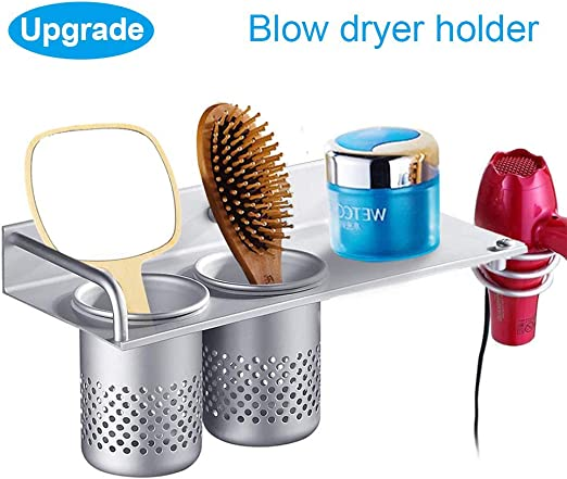 Aluminum Hair Dryer Holder Hair Blow Care Tools Hanging Shelf Rack Organizer for Blow Dryer Wall Mounted with Storage Cup Bathroom Washroom Accessories Collection Set