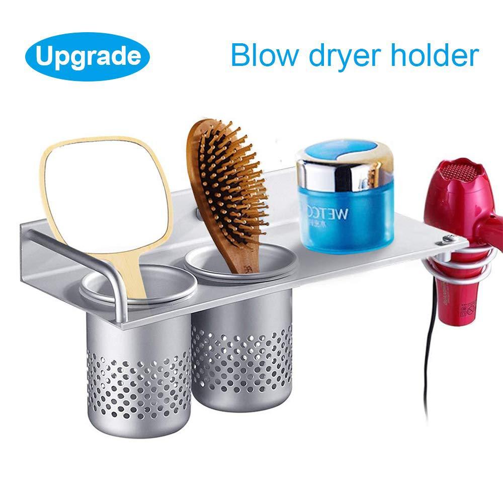 Hair Dryer Holder Wall Mount, Toothbrush Hairdryer Holder Organizer Storage Handing Rack, Upgrade Special Aluminum, Bathroom Hanging Rack Organizer with 2 Cups