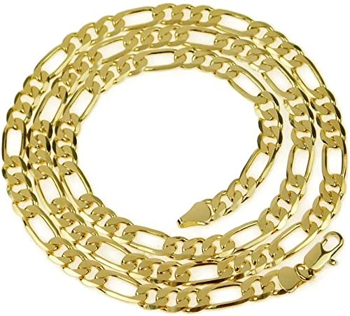 "5 x 18/"" gold plated complete figaro necklace chains"