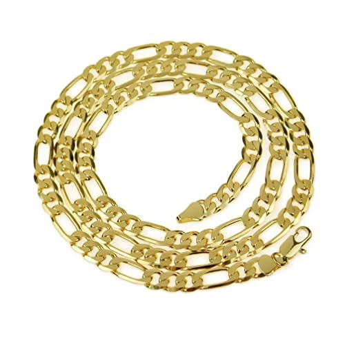 Bling Cartel Mens 18k Gold Plated Figaro Chain 24