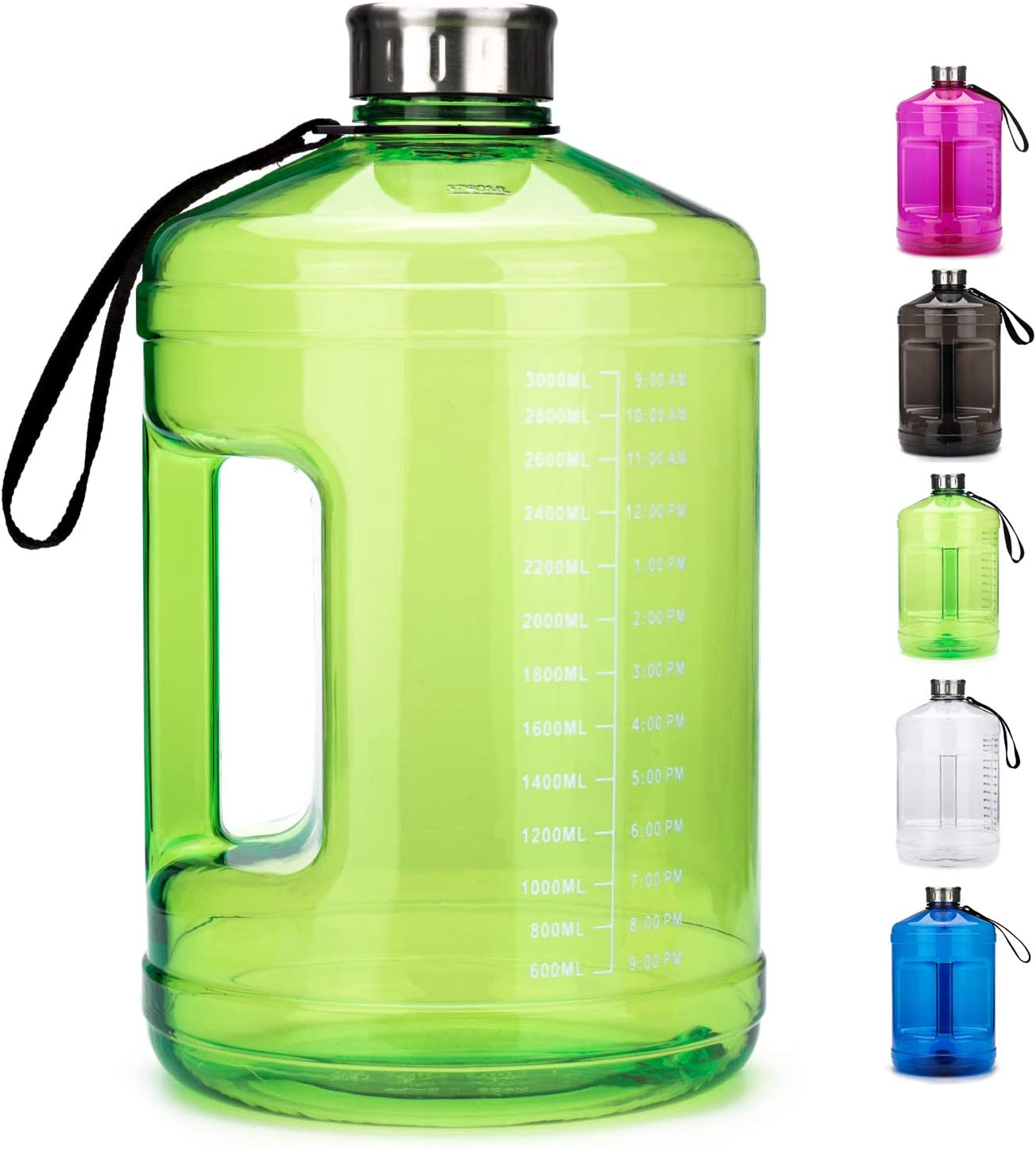 OSVAW Motivational 1 Gallon Water Bottle, BPA-Free, Leak-proof,Large Capacity Water Jug with Time Marker Reminder Hydration