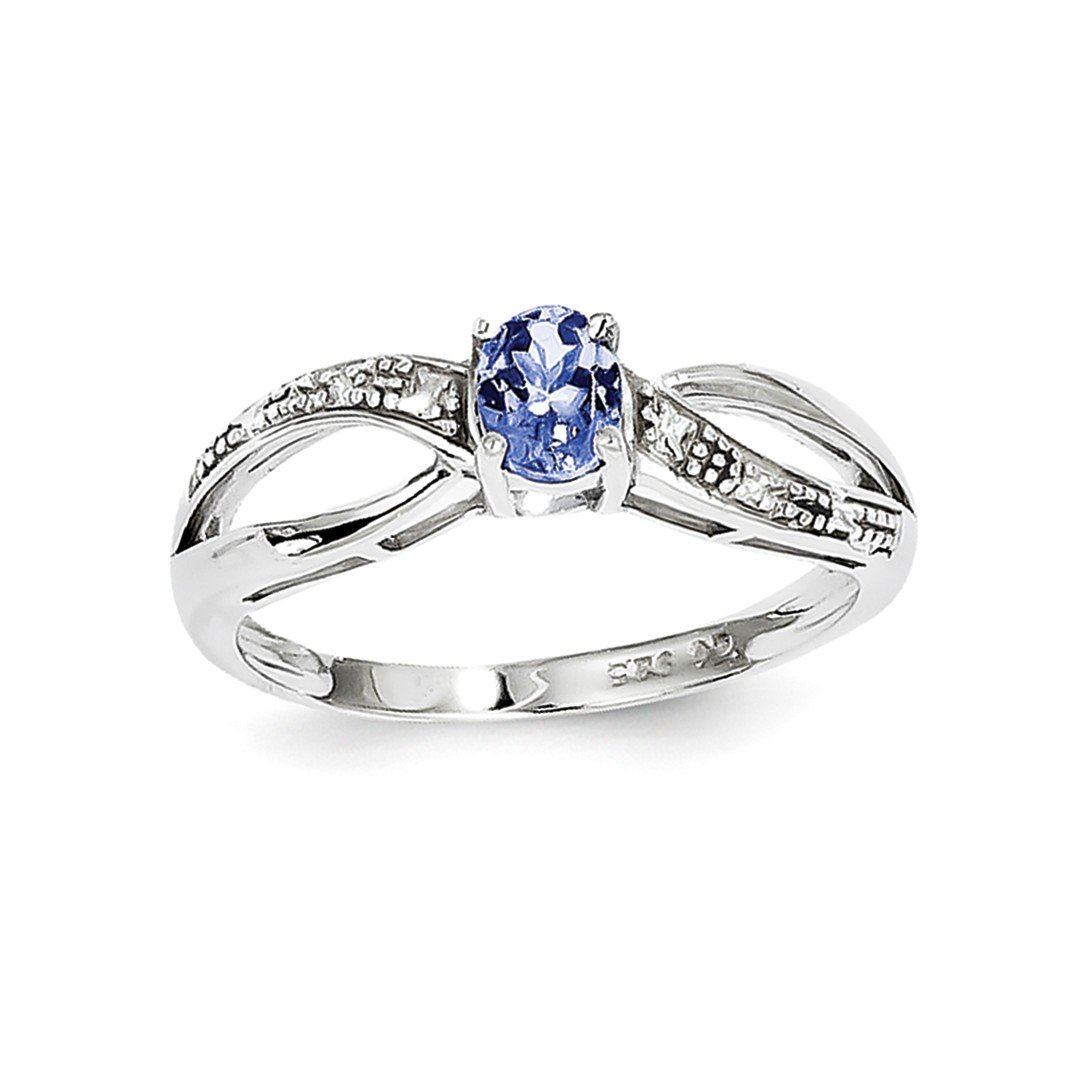 ICE CARATS 925 Sterling Silver Diamond Blue Tanzanite Band Ring Size 6.00 Gemstone Fine Jewelry Ideal Mothers Day Gifts For Mom Women Gift Set From Heart
