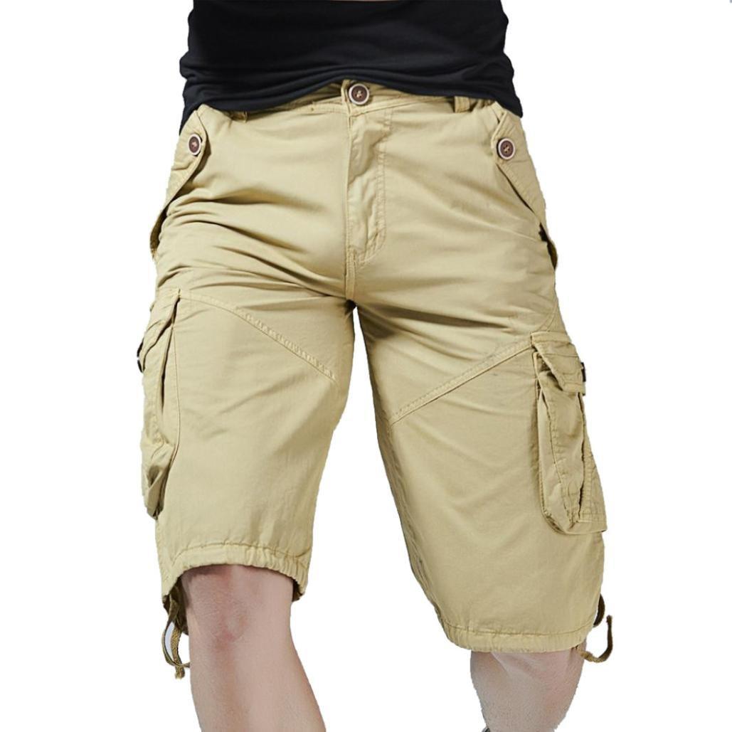 PASATO Clearance! Fashion Mens Casual Pocket Beach Work Casual Short Trouser Shorts, Classic Casual Pants(Khaki, 36)