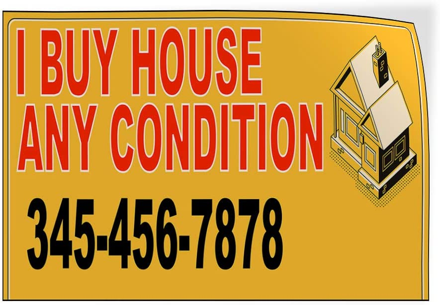 Custom Door Decals Vinyl Stickers Multiple Sizes I Buy House Any Condition Phone Number Business I Buy House Outdoor Luggage /& Bumper Stickers for Cars Orange 45X30Inches Set of 5