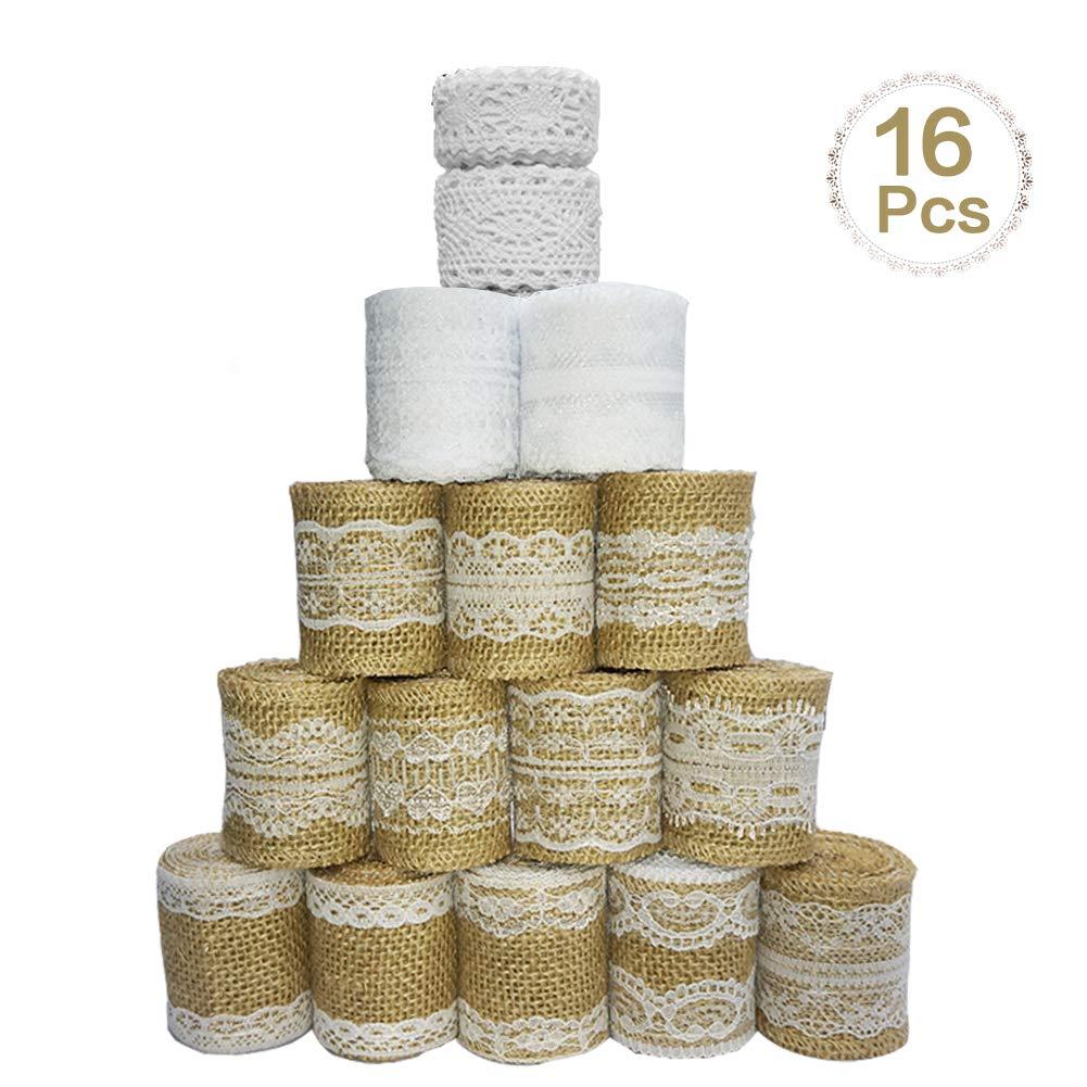 16 kit di rotoli di nastri di pizzo in iuta di tela naturale nello Sparta's Store. Include 12× rotoli di Nastro di tela di iuta con pizzo, 2 ×Merletto bianco pizzo nastro e 2× Merletto Cotone Pizzo . Naturale e rispettoso dell'ambiente, bello e pratico, è