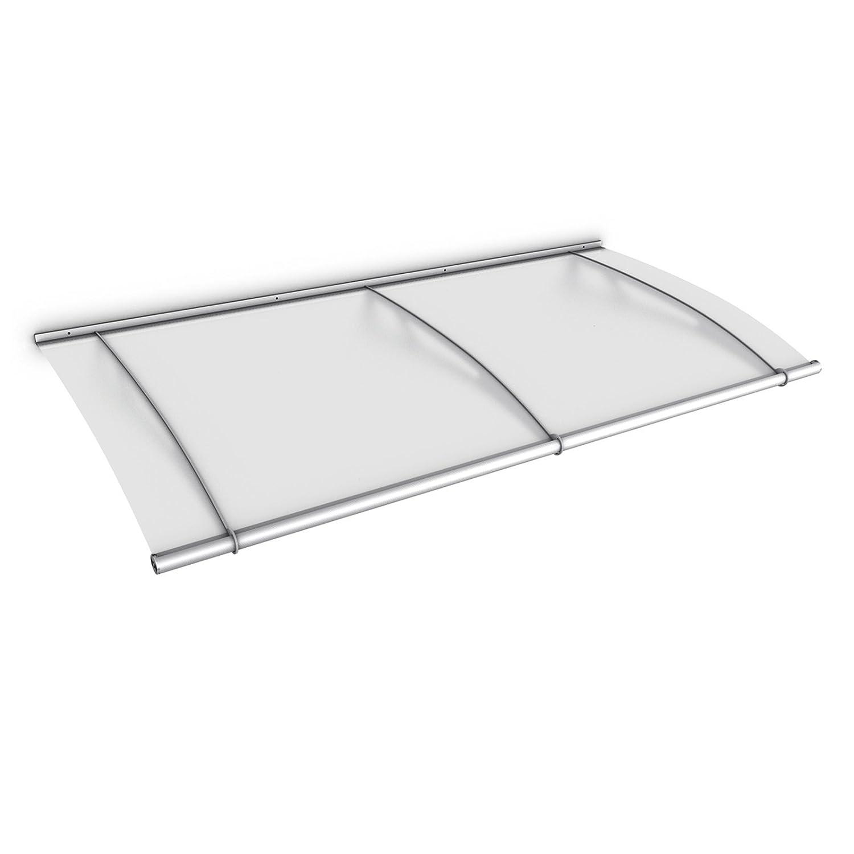 Schulte Vordach Überdachung Haustürvordach 190x95cm Acrylglas satiniert Edelstahl matt Pultbogenvordach