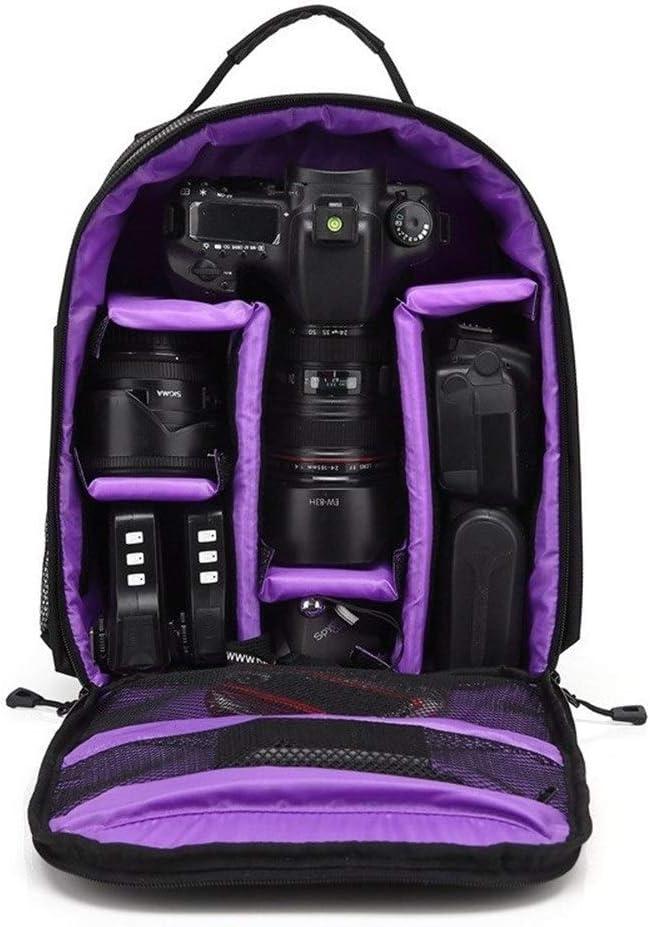 Saalising Waterproof Functional DSLR Backpack Camera Video Bag w//Rain Cover SLR Tripod Case PE Padded for Photographer Canon Nikon Color : Purple