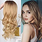 Sexy Long Body Wavy Ombre Wigs For Women Natural Brown To Blonde Synthetic Curly Hair Wigs Heat Resistant Party Wigs 26 inch (Ombre Blonde)