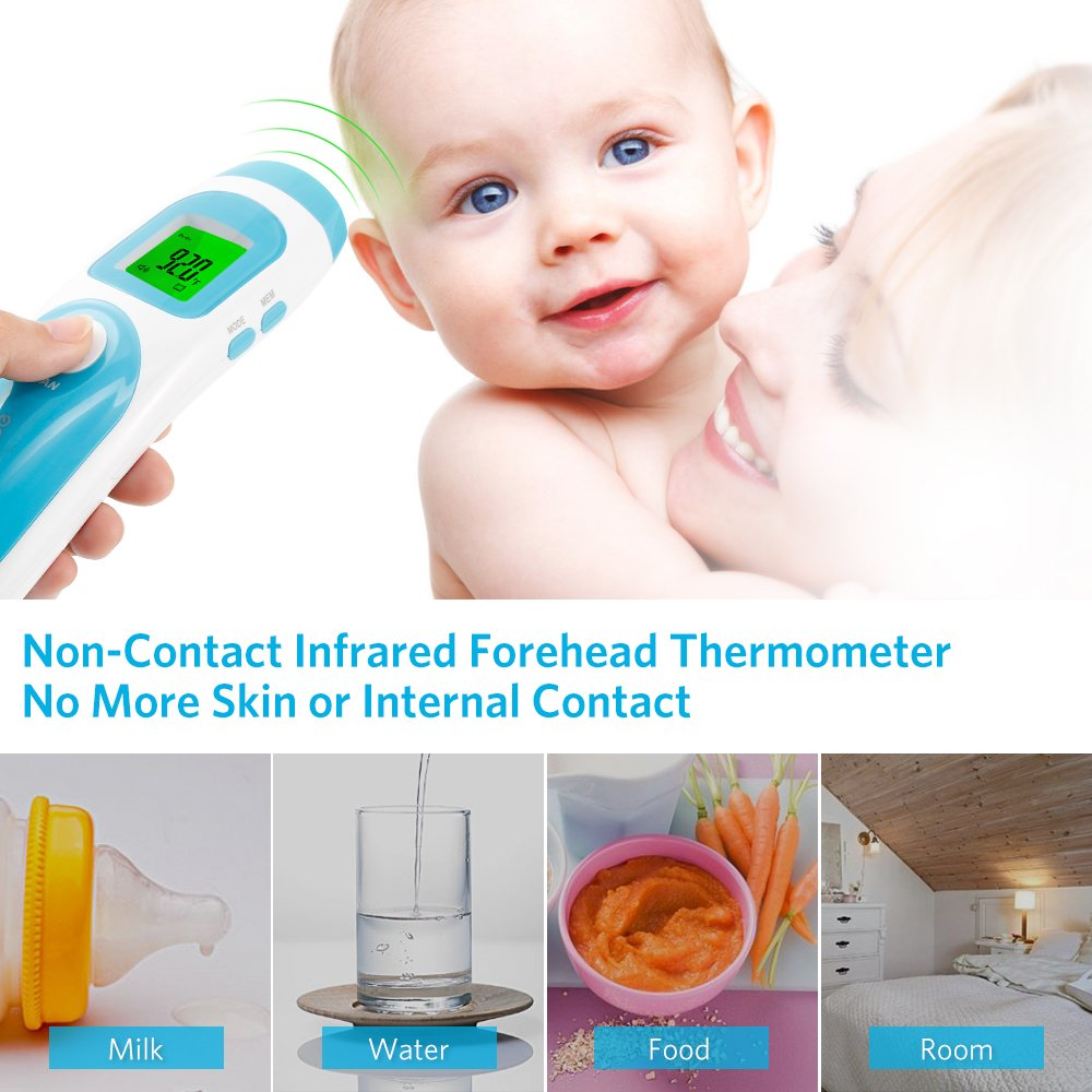 Liaboe Non Contact Infrared Forehead Thermometer, 3 in 1 Body/Surface/Room Temperature Reading Device, LCD Three Color Over Temperature Alarm Display Baby Adults Thermometer, FDA Approved by Liaboe (Image #3)