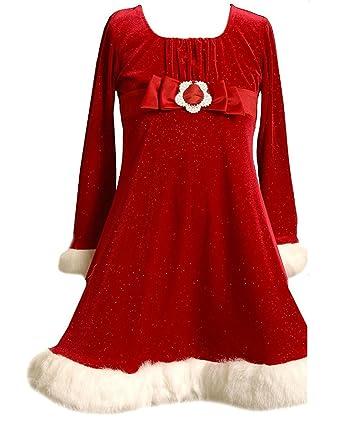 b4e60ecf Amazon.com: Bonnie Jean Big Girls' Faux Fur Trim Glitter Stretch Velvet  Empire Waist Dress: Special Occasion Dresses: Clothing