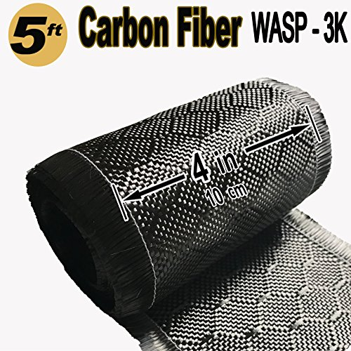 4 in x 5 FT - WASP - Carbon Fiber Fabric - Wasp Weave-3K - 220g-Black