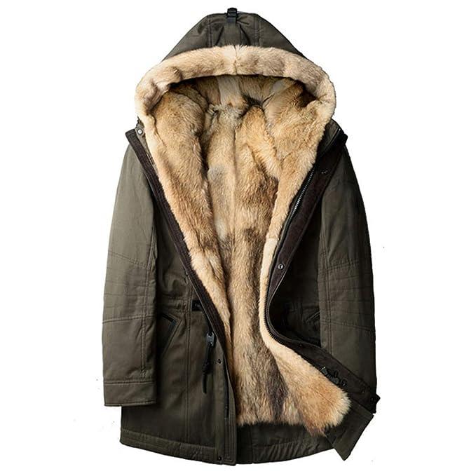Hombres de Piel de Lobo Gruesos Chaqueta de Invierno Abrigos Largos Diseñador de Moda Viajes para superar Las cálidas Chaquetas con Capucha de Lujo V997: ...