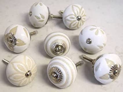 10 Knobs Vintage White Hand Painted Ceramic Knobs Cabinet Knobs Kitchen  Cabinet Drawer Pull Handles By