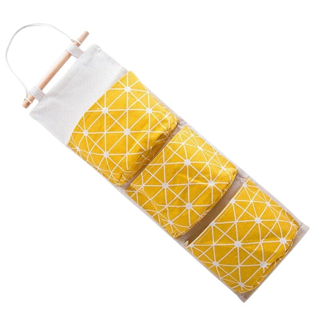 Merssavo Wandtür Hängende Organizer Container Nachttisch Kleiderschrank Kleiderschrank Aufbewahrungsbeutel Tasche (Gelb)