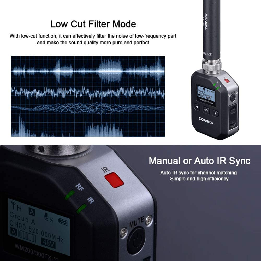 CoMica WM200//300-XLR Wireless Microphone XLR Transmitter with LCF//Auto Scanning//Auto IR Channel-Match//RF Signal Strength Adjustment//MIC//LINE in Input//Sound Pickup Dynamic Display Functions