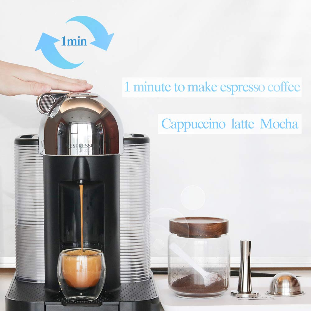 Stainless Steel Metal Coffee Capsule Compatible for Vertuo Coffee Espresso Size Nespresso Vertuoline Reusable Pods Holder Vertuolline GCA1,ENV135S,ENV135B,ENV135T,ENV135R (capsule) by BRBHOM (Image #4)