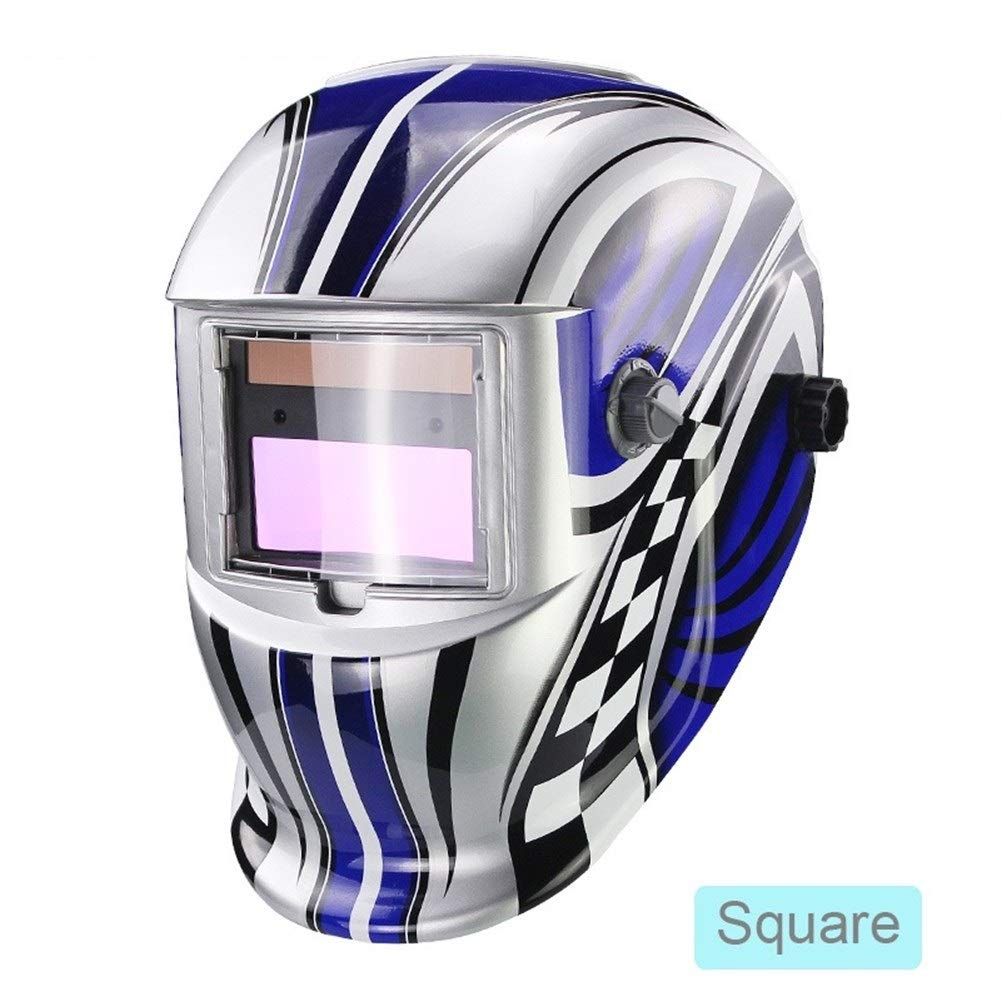 YUANYUAN521 Solar LI Battery Automatic Darkening TIG MIG MMA MAG KR KC Electric Welding Mask/Helmets/Welder Cap for Welding Machine (Color : Square) by YUANYUAN521