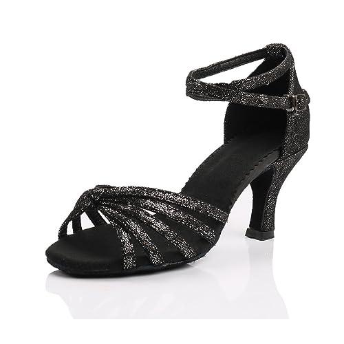 mejor servicio 518b7 08c58 VESI Zapatos de Baile Latino de Tacón Alto/Medio para Mujer Negro 39(Tacón  7cm)
