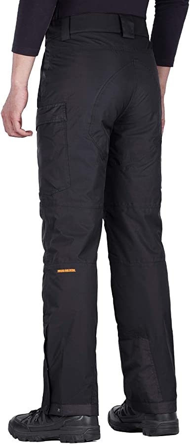 FREE SOLDIER Mens Waterproof Snow Insulated Pants Winter Skiing Snowboarding Pants with Zipper Pockets