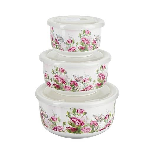 Porcelana - Juego de cuencos, 3 piezas, blanco, flores Print ...