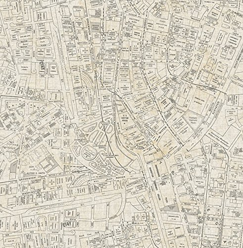 Wallpaper Designer Vintage New York City Street Map Charcoal Gray on Beige -