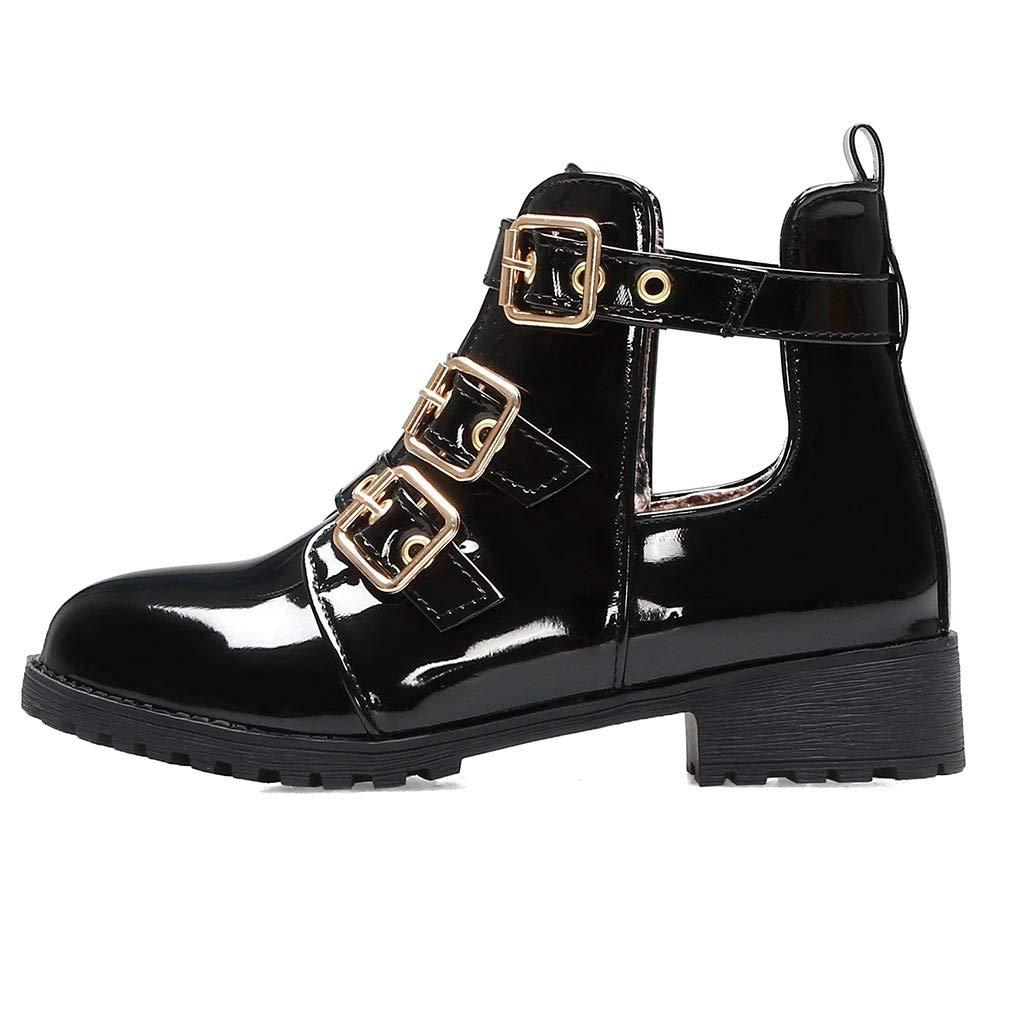 VonVonCo Women Marten Buckles Metal Med Hallow Cover Heel Stylish Shoes Ankle Boots Black