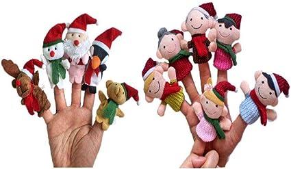 YeahiBaby Adornos Navide/ña del Juguete de Navidad Marionetas del Dedo de Navidad para Ni/ños 5 Piezas