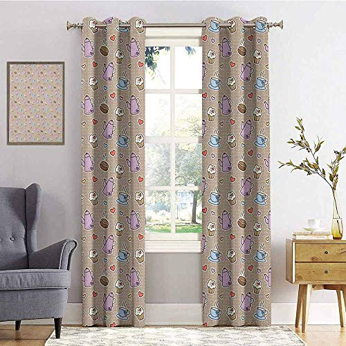 hengshu Tea Party Shading Insulated Curtain Coffee Bean Kettles and Cupcakes with Heart Frosting on Polka Dotted Background for Living Room or Bedroom W72 x L84 Inch Multicolor