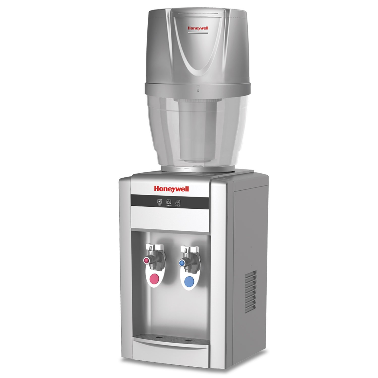 Honeywell HWB2052S/HWB101S 21-Inch Tabletop Water Cooler Dispenser, Hot and Cold Temperatures with 4 Gallon Filtration System, Silver
