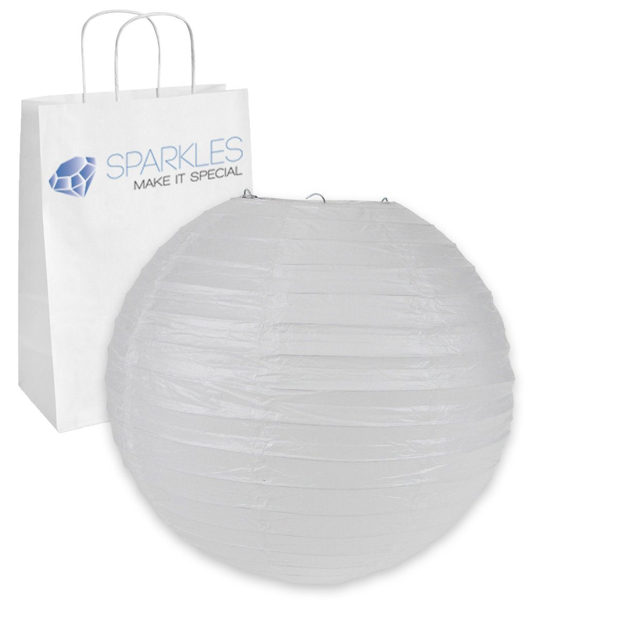 Sparkles Make It Special 100-pcs 12'' inch Chinese Paper Lantern - White - Wedding Party Event Decoration - 13 Colors and 8 Sizes Available