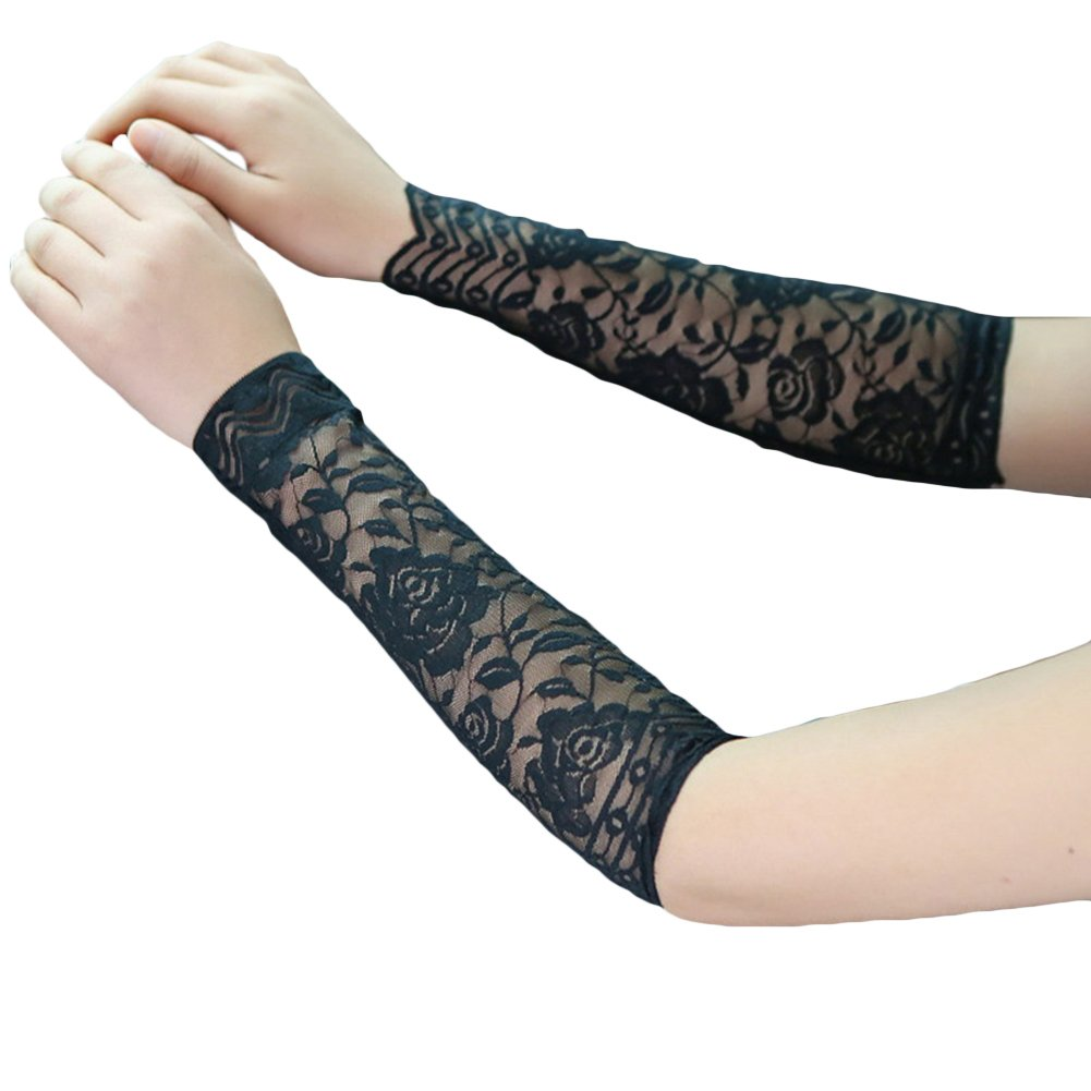 bjduck99 1Pair Women Lace Floral Sun UV Protection Driving Arm Sleeves Cover - Black