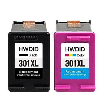 HWDID 301 XL Cartuchos de tinta (1 Negro, 1 tricolor) Compatiable con HP Deskjet 1000 1010 1510 1512 2000 2050 2054a 2510 2514 2540,HP Envy 4500 4502 ...
