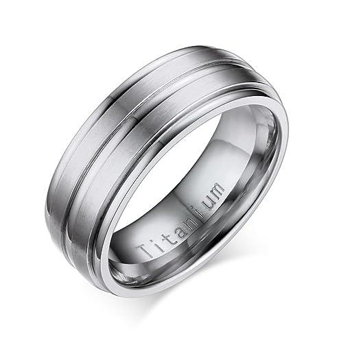 Anillo de Titanio para Hombre banda de boda compromiso Promesa, Oriente 2 líneas, acabado