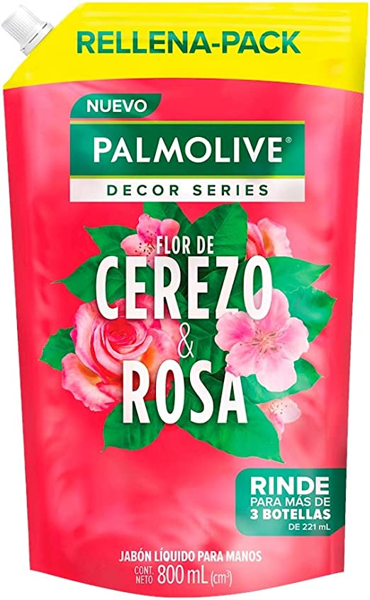 Palmolive Decor Series Jabón Líquido Para Manos Flor De Cerezo & Rosa 800 Ml, Color, 800 Ml, Pack Of/Paquete De: Amazon.com.mx