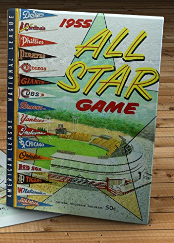 1955 Vintage Milwaukee County Stadium All-Star Game Program - Canvas Gallery Wrap - 12 x 16 - Milwaukee Braves Stadium