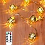 Anlaibao LED Globe String Lights,12ft 20LED 8 Modes USB Plug in Moroccan Metal Ball Fairy String Lights for Bedroom Garden Pa