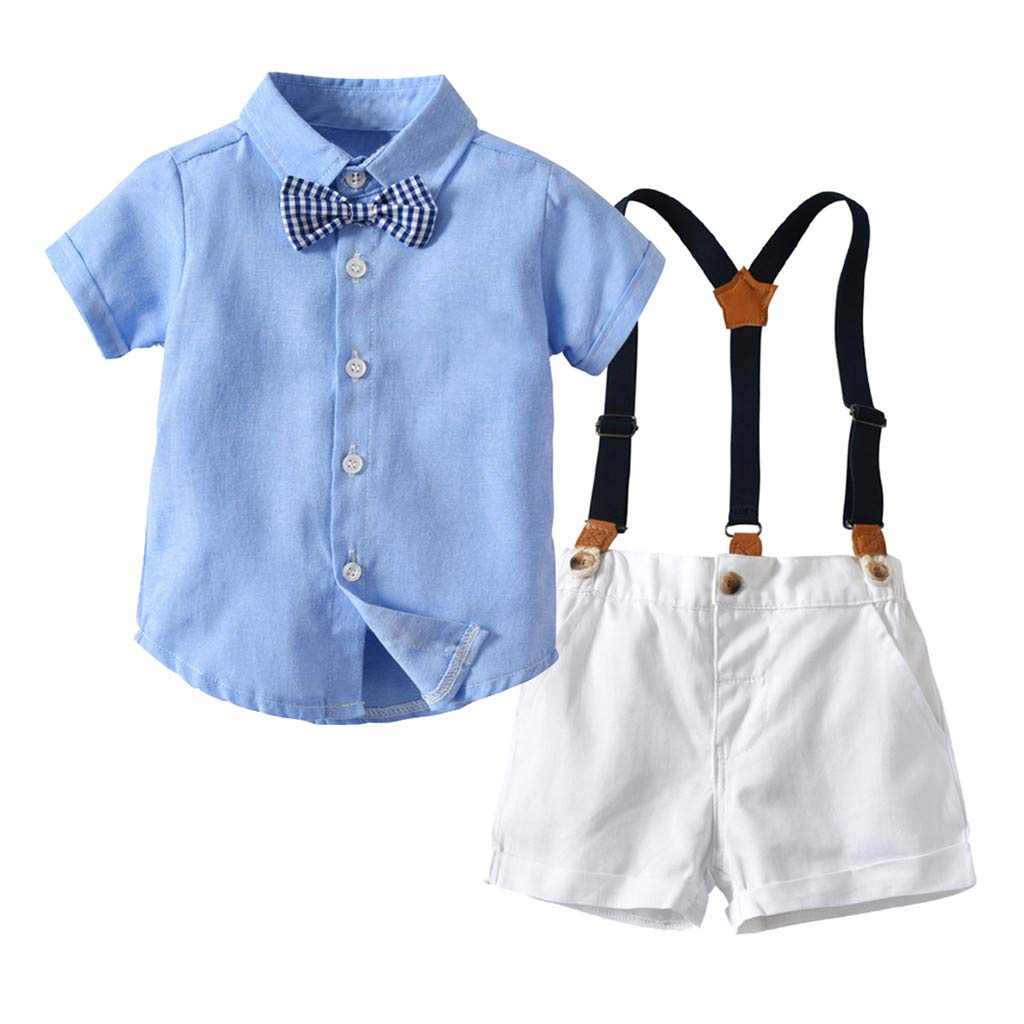 Clearance 3PC Outfits Set,Long Sleeve Gentleman Jacket Bow Shirt Strip Pants for Baby Boys