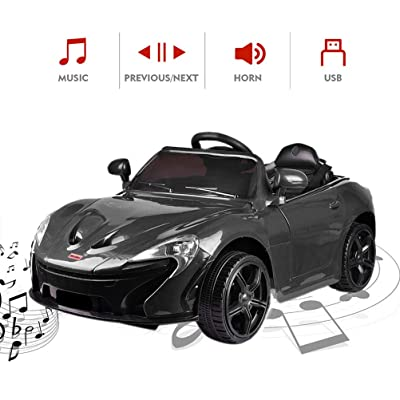 Best Choice Gifts 12V Kids Ride On Car, Electric RC Ride On Toys Battery Powered, 2.4G Radio Parental Remote Control & Manual Modes, 3 Speeds, LED Lights, MP3, (Black): Toys & Games