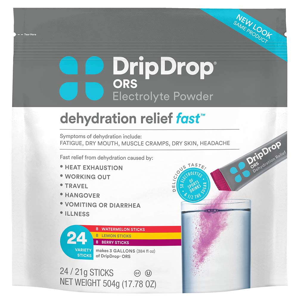 DripDrop ORS – Patented Electrolyte Powder for Dehydration Relief Fast - For Workout, Hangover, Illness, Sweating & Travel Recovery - Watermelon, Berry, Lemon Variety Pack - 24 x 16oz Servings