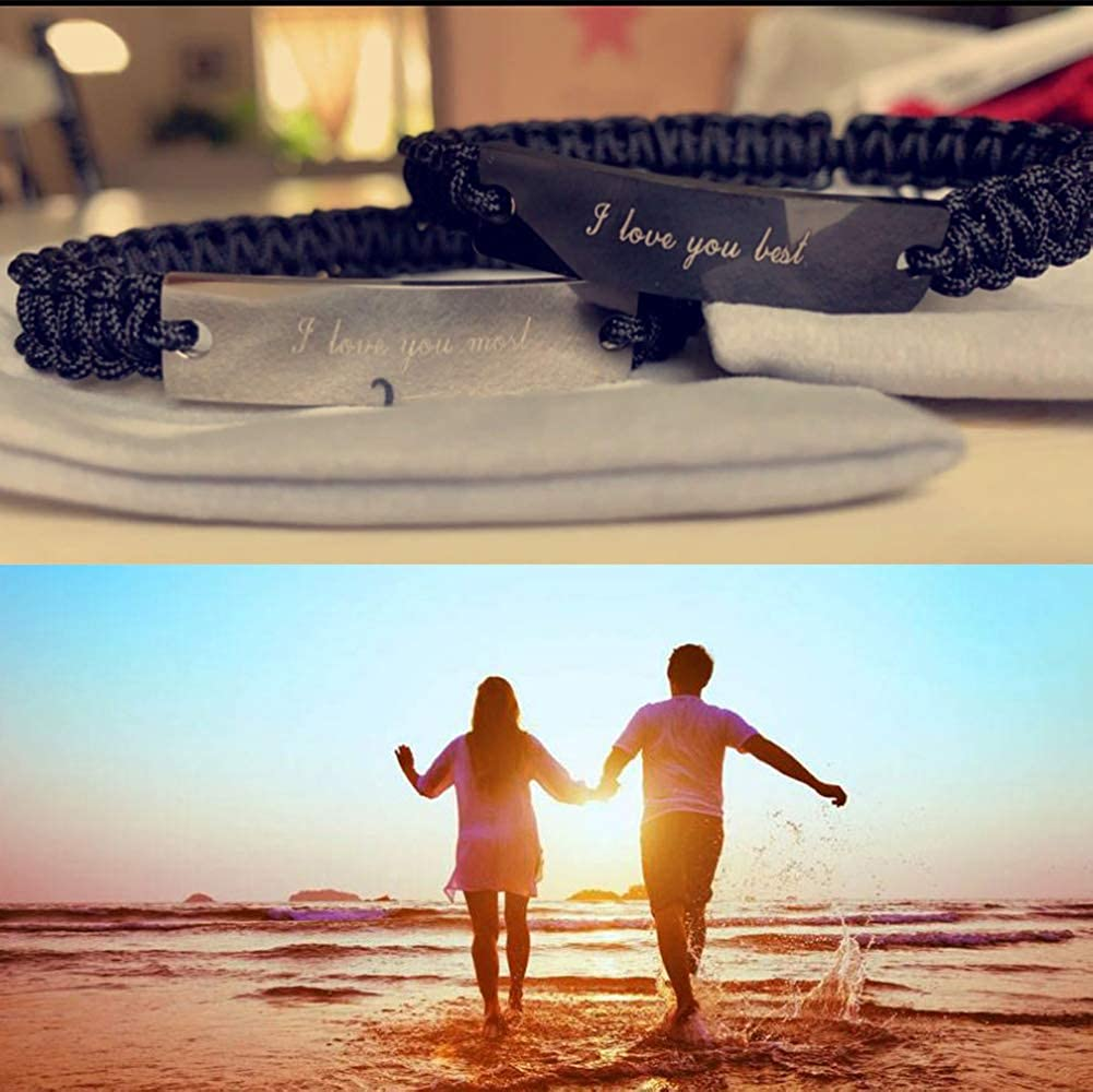XUANPAI Personalized Handmade Braided Rope ID Plate Couples Bracelets for Women Men Friendship