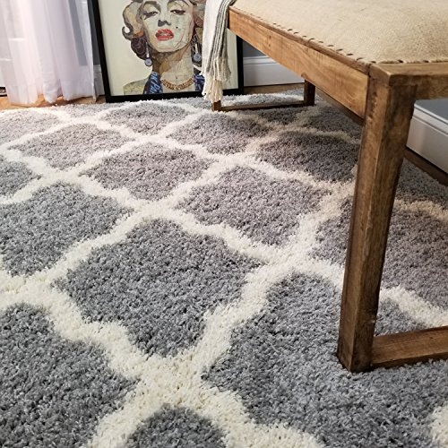 Maxy Home Soft Shag Area Rug, Grey (For Rug White Nursery)