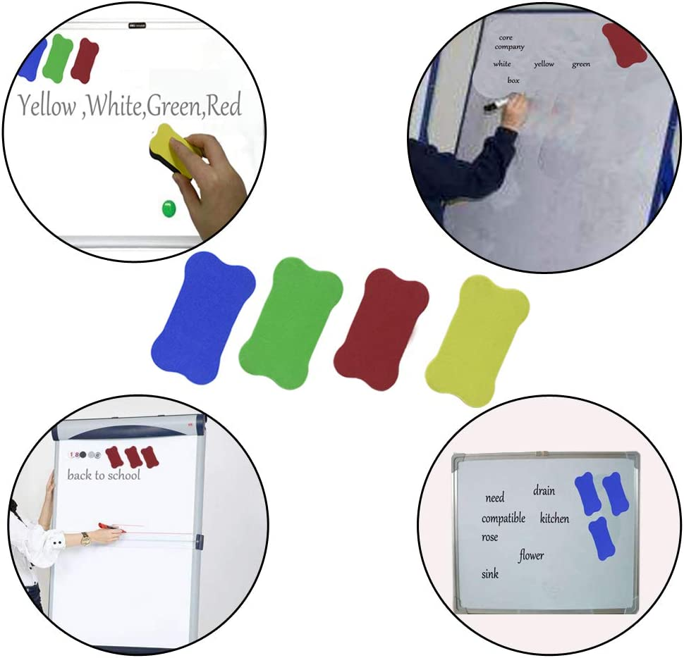 Random Color 10 Pack Bone-shaped Whiteboard Mini Eraser Office Erasers Dry Felt Fabric Erasers Fit for School,Home,Office