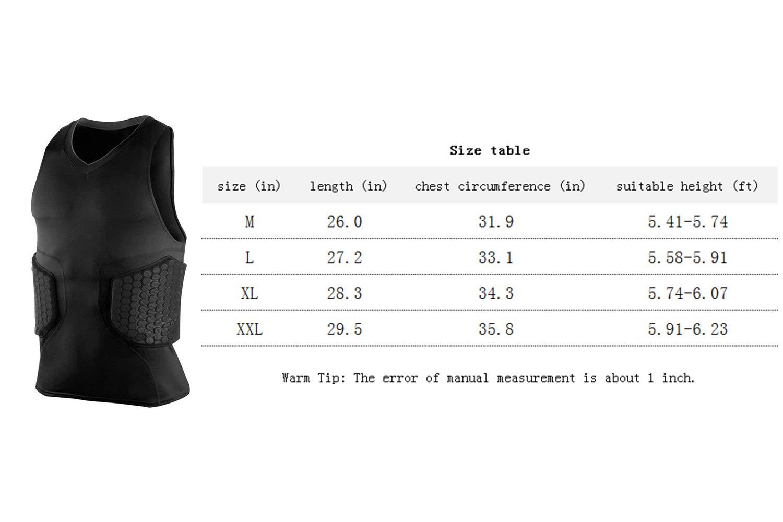 BETOT Mens Sleeveless Padded Football Shirt Compression Vest Athletic Rib Protector Shirt Black