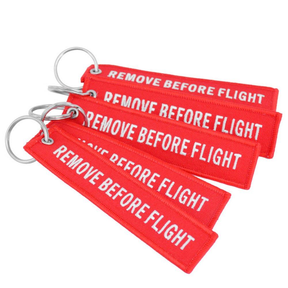 le vol populaire YooGer a brod/é la fl/èche Keychain.5 pcs Rouge enlever avant l/étiquette de bagage de Keychain de vol