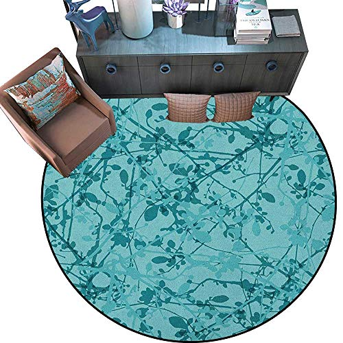 "Teal Round Rug Kid Carpet Ink Drawing Inspired Intertwined Tree Branches Buds and Leaves in Abstract Design Circle Rugs for Living Room (71"" Diameter) Teal Turquoise -  Anniutwo"