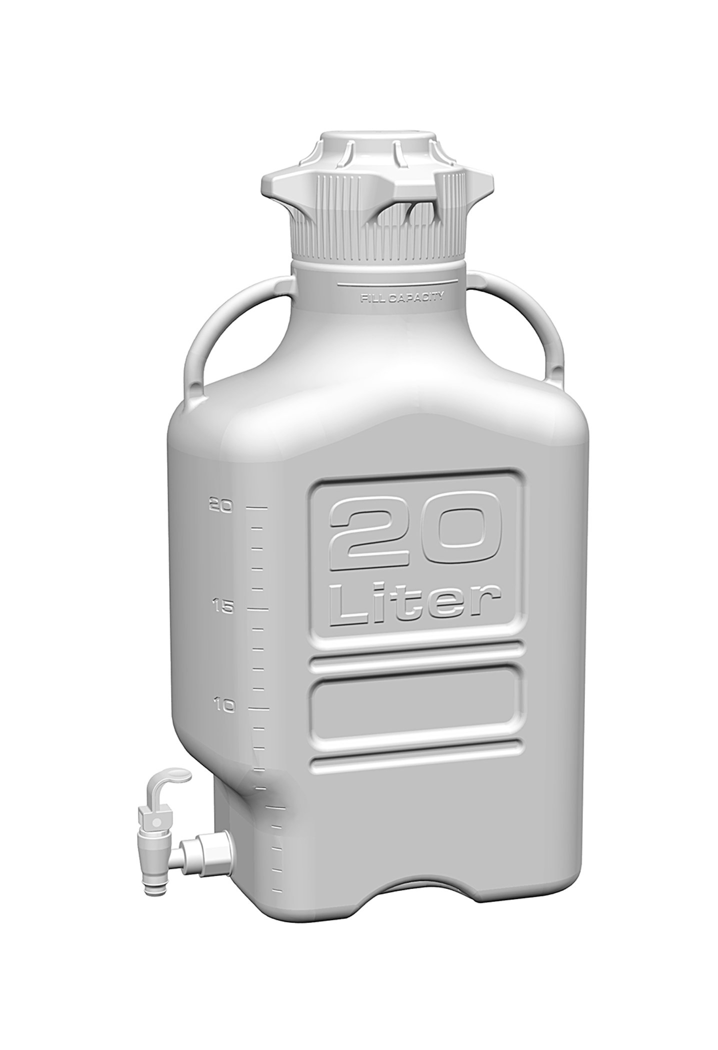 EZgrip 20L (5 Gal) Autoclavable Polypropylene Space Saving Carboy with Leakproof Spigot, Wide Mouth 120mm VersaCap and 26.5L Max Capacity