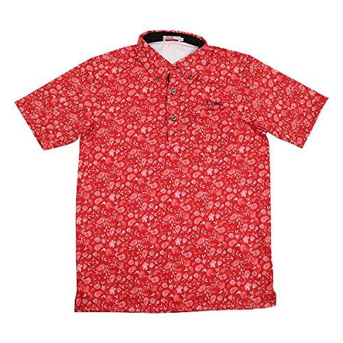 Coca-Cola(コカ?コーラ) ゴルフ メンズ 半袖BDシャツ ペーズリー柄 レッド