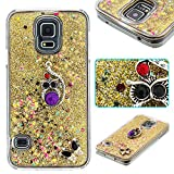 Samsung S6 Case, Galaxy S6 Liquid Quicksand Bling Glitter Case with Glamour Jewely Crystal ring gold