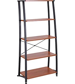 FIVEGIVEN 5 Shelf Ladder Bookshelf Tall Industrial Bookcases And Book Shelves Sonoma Cherry