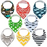 Baby Bandana Bibs for Boys & Girls Soft, Comfortable, Machine Washable, Highly Absorbent Bandana Bibs for Babies, Unisex Printed Bandana Bibs with Snaps Set of 8 by Klim and Leo